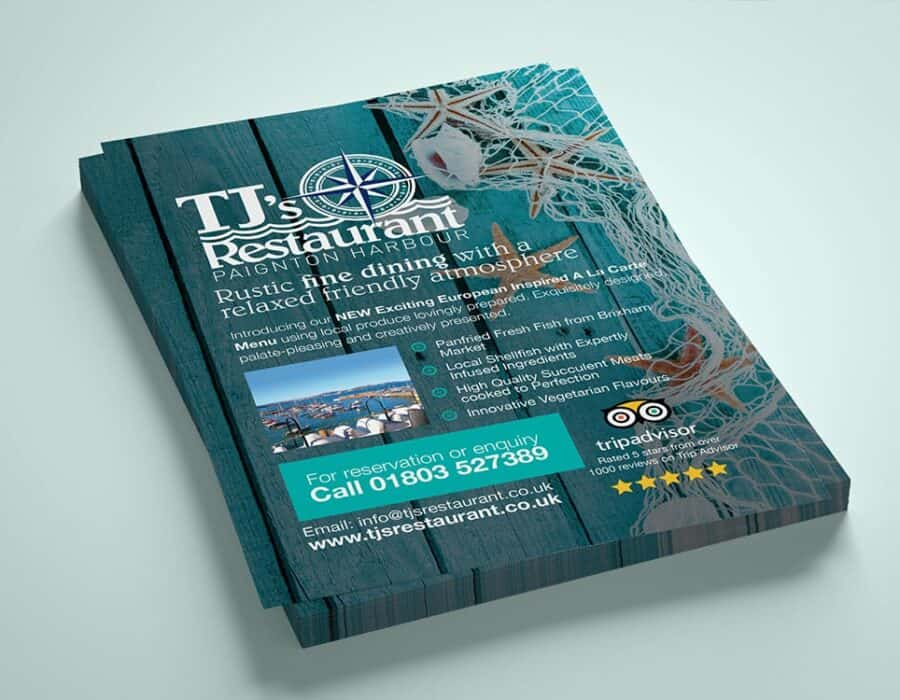 Logo and flyer design for popular Devon based restaurant
