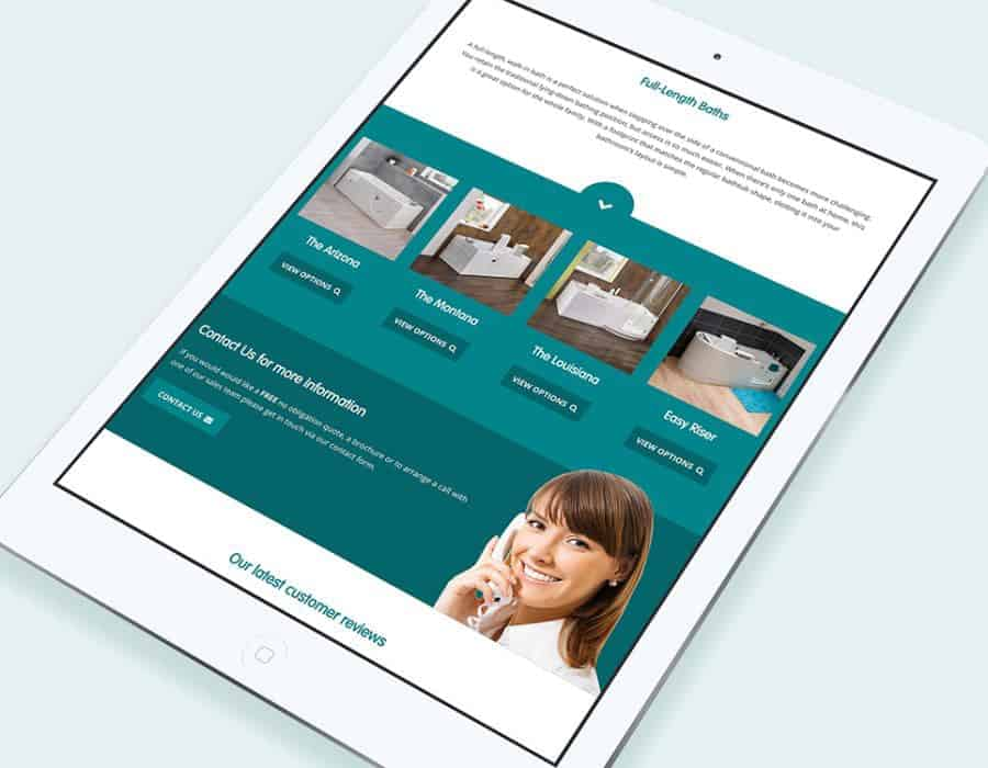 Responsive website redesign for leading assisted bathing specialist