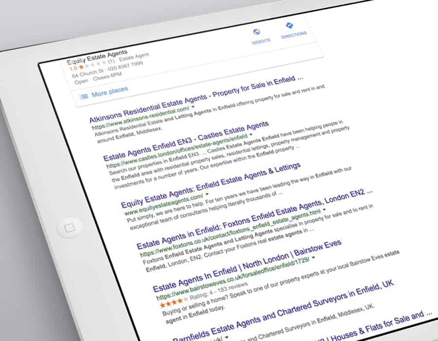 Improved search engine visibility for London based estate agency