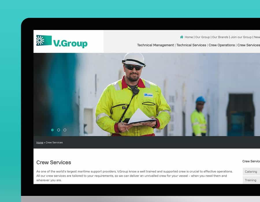 Group website redesign, copy, photography and video for leading global provider of marine support services