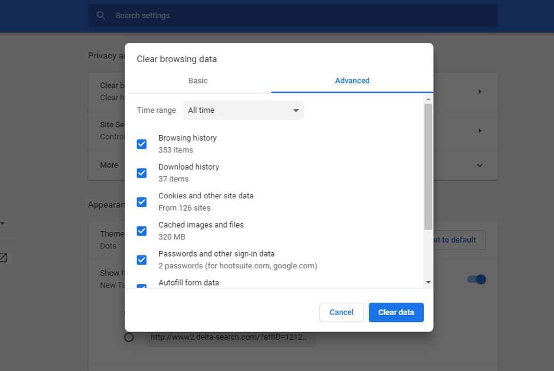Google Chrome Desktop Browser Settings