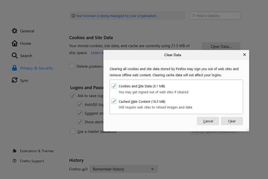 Firefox Browser Desktop Settings