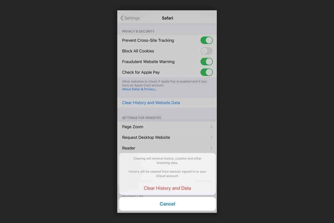 Safari Mobile Browser Settings