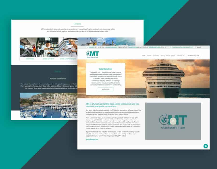 Website design for world-leading maritime travel management company